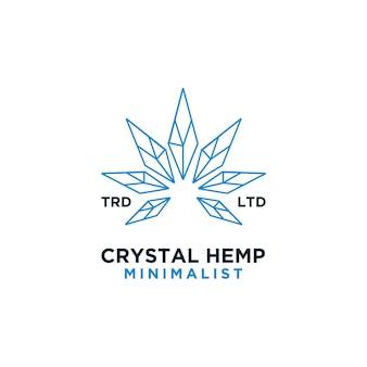 Premium kristal hennep vector logo-ontwerp
