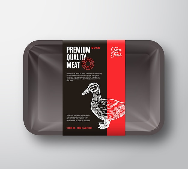 Premium kwaliteit eendenvleespakket en labelstreep. voedsel plastic dienblad container met cellofaan cover. verpakkingslay-out. moderne typografie en met de hand getekende eend silhouet achtergrond.