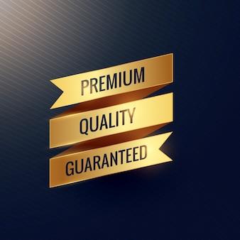 Premium kwaliteit gegarandeerd gouden lintontwerp