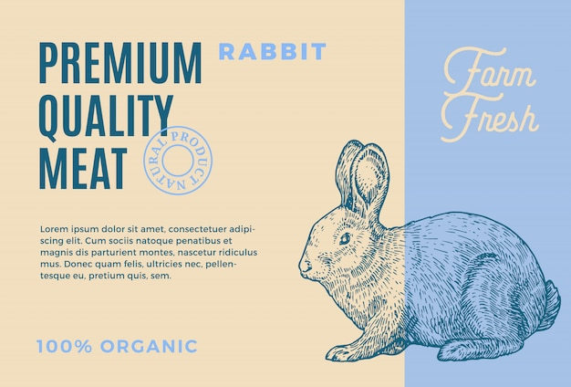 Premium kwaliteit konijn. abstracte vleesverpakking of etiket. moderne typografie en hand getrokken konijn schets silhouet achtergrond lay-out