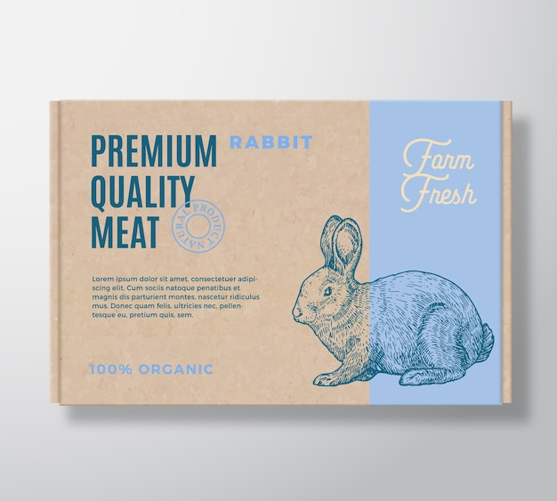 Premium kwaliteit konijnenvlees verpakking label op een ambachtelijke kartonnen doos.