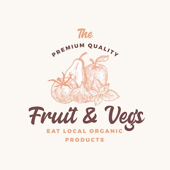 Premium kwaliteit lokale groenten en fruit abstract teken, symbool of logo