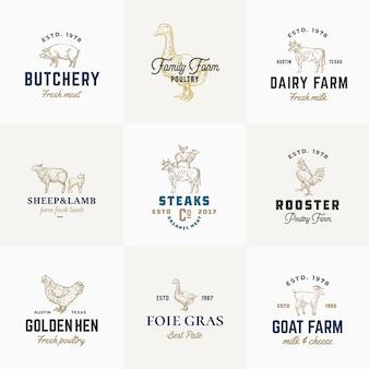 Premium kwaliteit retro vee en pluimvee borden of logo sjablonen set. hand getekende vintage huisdieren en vogels schetsen met stijlvolle typografie, varken, koe, kip, enz.