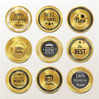 Premium kwaliteit ronde gouden labels collectie over beige