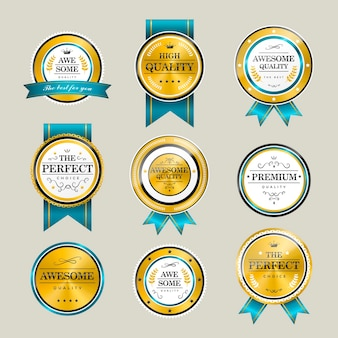 Premium kwaliteit sprankelende gouden labels collectie over grijs