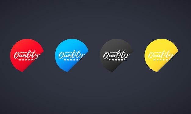 Premium kwaliteit stickerset. voor grafisch en webdesign. vector op geïsoleerde donkere achtergrond. eps 10