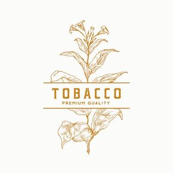 Premium kwaliteit tabaksblad abstract vector teken symbool of logo sjabloon kruid tak sillhouette wi...