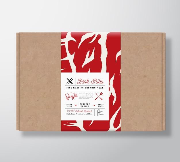 Premium kwaliteit varkensribbetjes ambachtelijke kartonnen doos.
