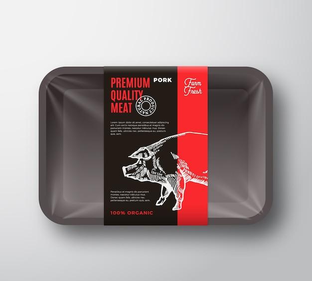 Premium kwaliteit varkensvlees vlees pakket voedsel plastic bakje container met cellofaan dekking lay-out.