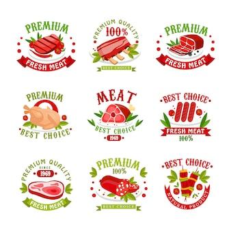 Premium kwaliteit vers vlees logo sjablonen set, beste keuze sinds 1969 badge, illustraties voor slagerij, vleeswinkel