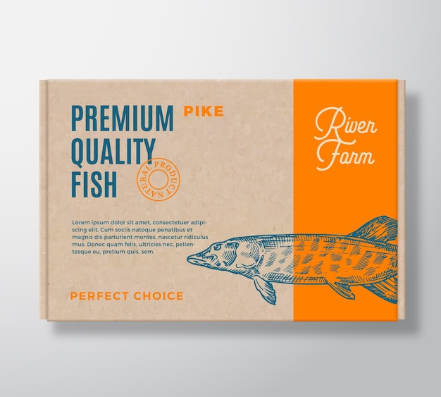 Premium kwaliteit vis realistische kartonnen doos. verpakkingsmodel