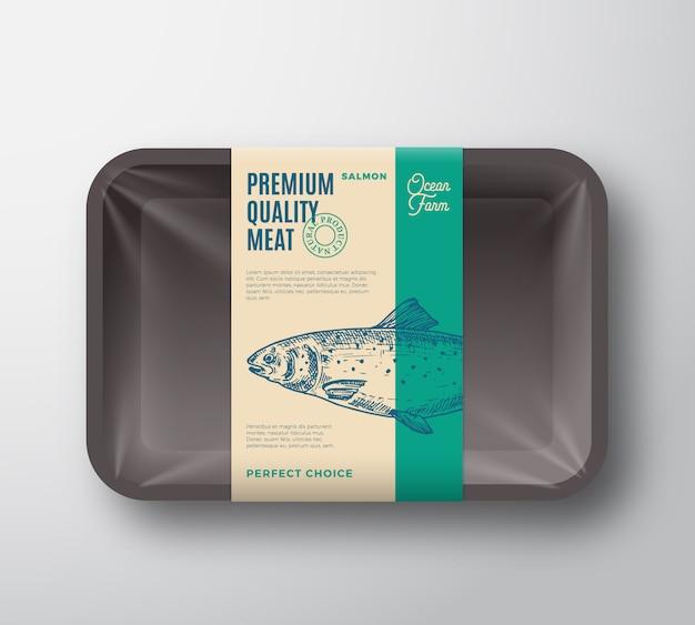 Premium kwaliteit zalm. abstract vector vis plastic dienblad met cellofaan cover verpakking design label.