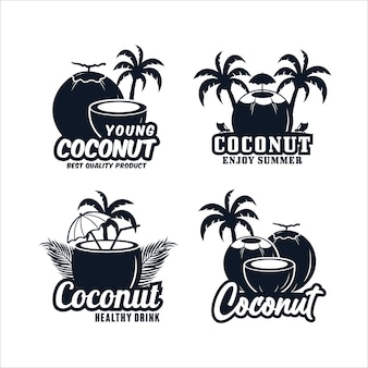 Premium logo-collectie met kokosontwerp