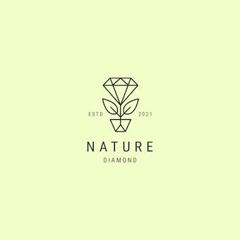Premium logo-ontwerp met diamanten bladlijnkunst