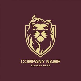 Premium logo-ontwerp met leeuw