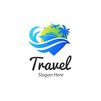Premium logo-ontwerpsjabloon voor reizen en reizen