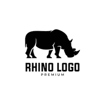 Premium logo van zwarte neushoorn