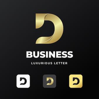 Premium luxe brief eerste d logo sjabloonontwerp