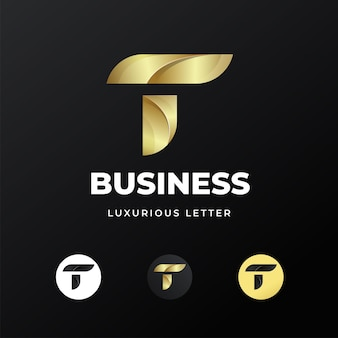 Premium luxe brief eerste t logo sjabloonontwerp