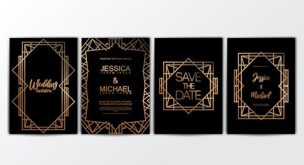Premium luxe bruiloft uitnodiging kaarten sjabloon