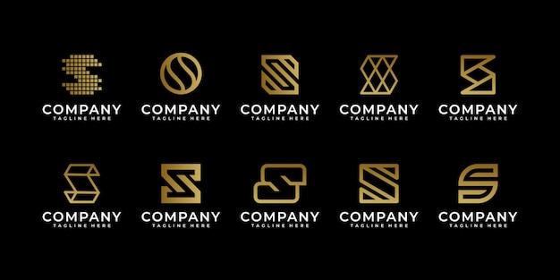 Premium luxe creatieve letter s-logo voor bedrijfs- en bedrijfslogo-ontwerp