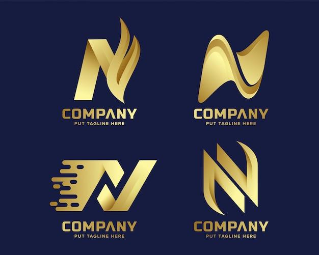 Premium luxe creative letter n-logo voor bedrijf