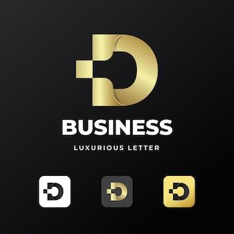 Premium luxe letter eerste d logo sjabloonontwerp
