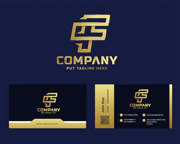 Premium luxe letter eerste f-logo voor startende onderneming en bedrijf