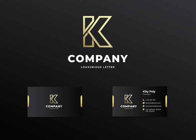 Premium luxe letter eerste k-logo en visitekaartje ontwerp