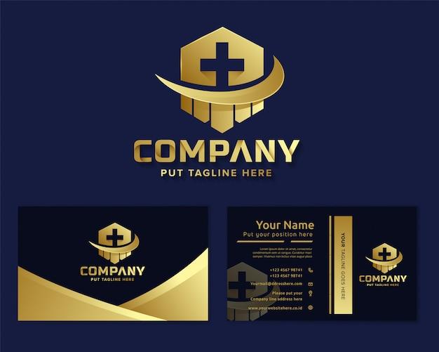 Premium luxe medisch ziekenhuis logo sjabloon voor bedrijf