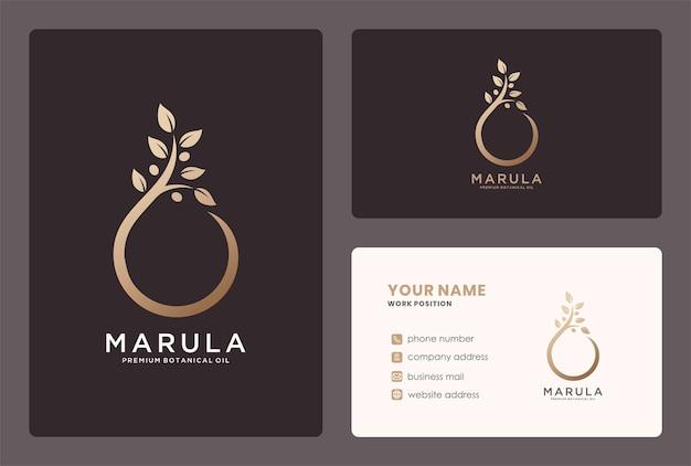 Premium maerula oliedruppel logo en visitekaartje ontwerp.