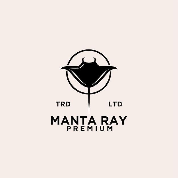 Premium manta pijlstaartrog logo ontwerp dierlijke vector eenvoudige zwarte afbeelding