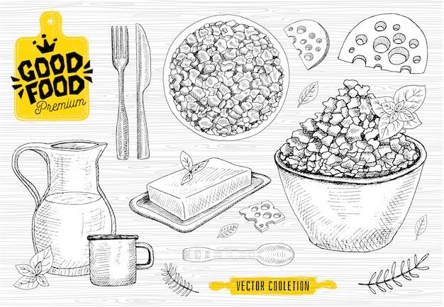 Premium markt voor lekker eten, logo-ontwerp, kaaswinkel, wrongel, melkinzameling. melkproducten, levensmiddelenwinkel. snijplank, mes, vork, lepel, deegroller.