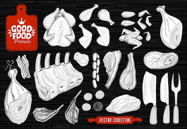 Premium markt voor lekker eten, logo-ontwerp, slagerij, vleescollectie. slagerij producten, levensmiddelenwinkel. bijl, snijplank, mes, vork, deegroller.