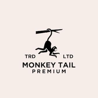 Premium minimalisme aap staart vector logo pictogram illustratie ontwerp