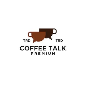 Premium mok koffie praten eenvoudig zwart vector logo ontwerp