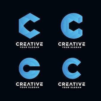 Premium monogram letter c-logo voor bedrijf.