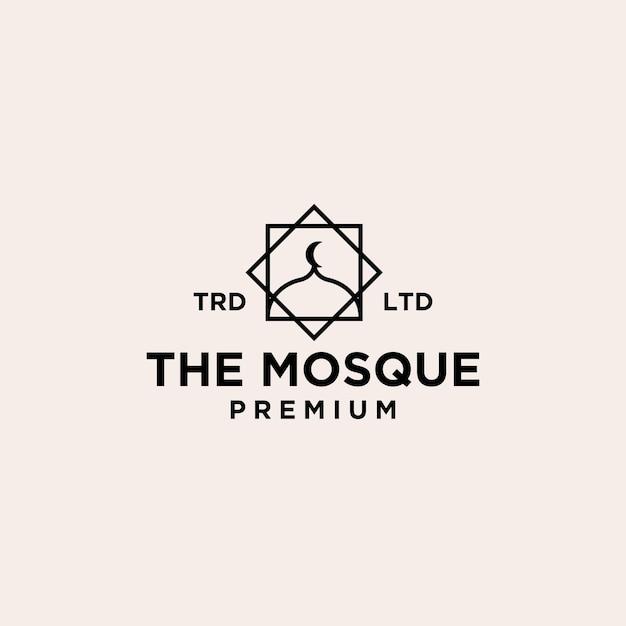Premium moskeekoepel met wassende maan op het bovenste vectorlogo-ontwerp