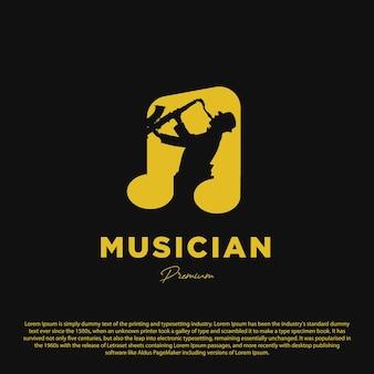 Premium muziek logo ontwerpsjabloon saxofonist met notitie muziek geïsoleerd op zwarte achtergrond