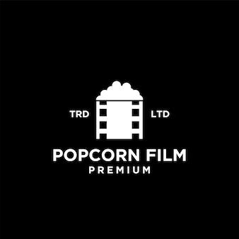 Premium popcorn bioscoopfilm vector zwart logo pictogram ontwerp