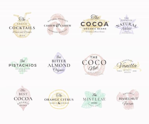 Premium qualituy noten, fruit en specerijen elegante etiketten set. abstracte tekens, symbolen of logosjablonen. handgetekende voedselschetsen met retro typografie. vintage luxe emblemen.