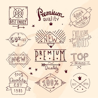 Premium retro kwaliteitslabelset