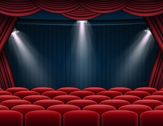 Premium rode gordijnen toneel, theater of opera achtergrond met schijnwerpers
