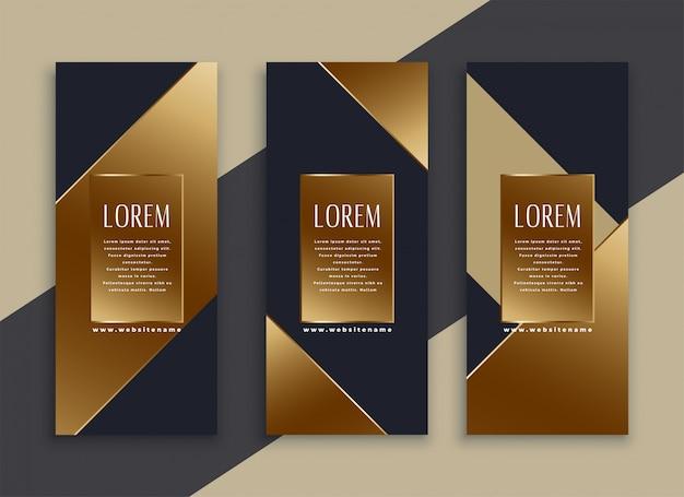 Premium set van donkere geometrische banners