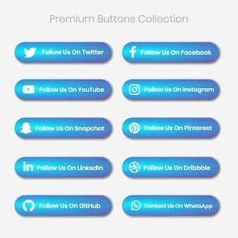 Premium sociale media en ander platform volgen ons en nemen contact met ons op knoppen