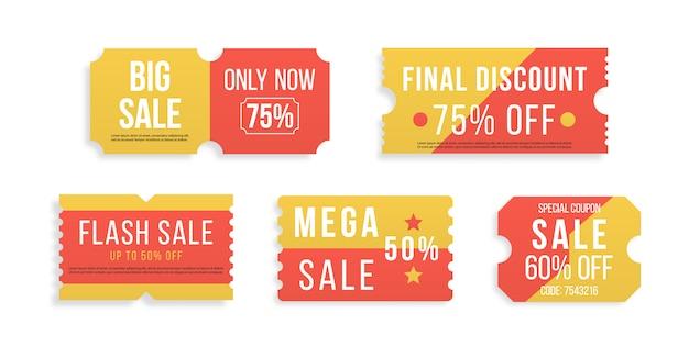 Premium speciale prijsaanbiedingen, kortingsbonnen of vouchers met de beste promo-verkoopprijs. halve prijsaanbieding, grote superverkoopcouponkorting op witte achtergrond. set rode kaartjes en etiketten. illustratie