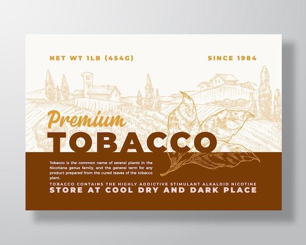 Premium tabak label sjabloon abstracte vector verpakking ontwerp lay-out moderne typografie banner met...
