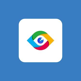 Premium tech oog logo sjabloon
