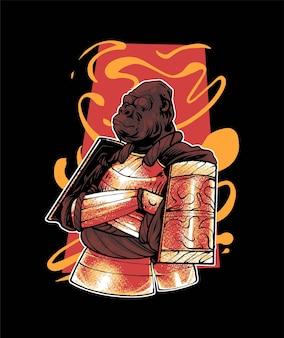 Premium vector gorilla ronin samurai illustratie, in een moderne cartoonstijl, perfect voor t-shirts of printproducten
