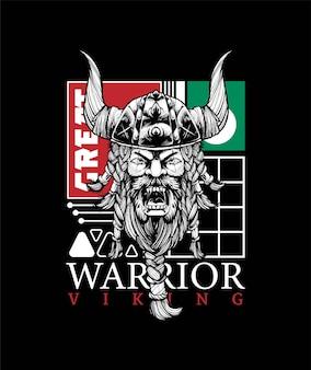 Premium vector viking-krijgerillustratie, in een moderne cartoonstijl, perfect voor t-shirts of printproducten